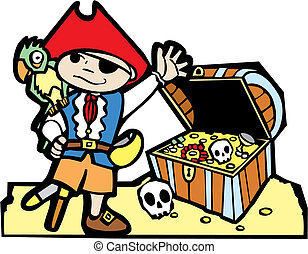 poitrine, pirate, trésor