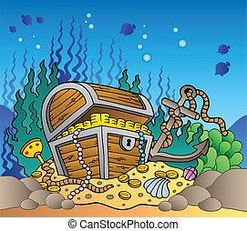 poitrine, trésor, vieux, mer, fond