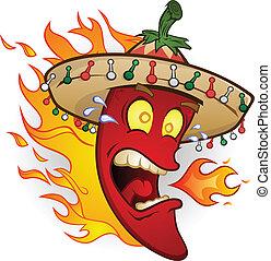 poivre, caractère, piment chaud, dessin animé