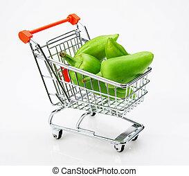 poivre, fond, doux, blanc, achats, paprika, vert, chariot