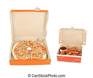 poivre, poulet, jambon, trempette, ailes, pizza