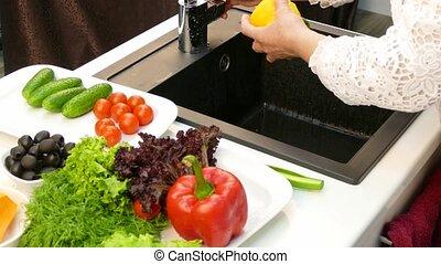 poivres, confection, lavage, femme foyer, salade
