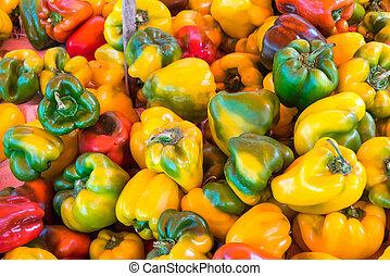 poivres, différent, couleurs, marché, cloche
