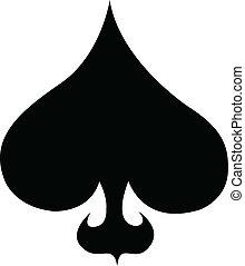 poker, art, agrafe, complet, piques, carte