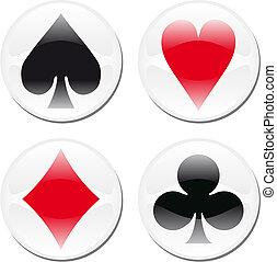 poker, blanc, carte, icônes
