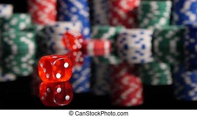 poker, chips., dés, lancement, motion., 3, lent, fond, pack., rouges