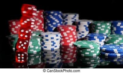 poker, chips., dés, motion., jeu, lent, fond, tomber