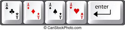 poker, clés, main, quatre, clavier ordinateur, as