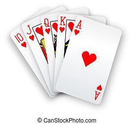 poker, directement, main, embraser, cartes, cœurs