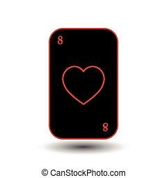 poker, heart., card., séparé, arrière-plan., noir, huit, blanc
