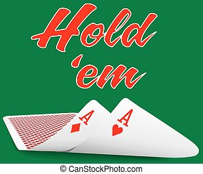 poker, holdem, as, paire, sous, cartes