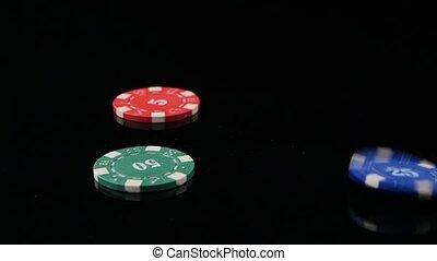 poker, lent, casino, trois, mouvement, arrière-plan., 3, noir, pack., chips, tomber