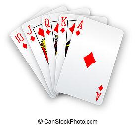 poker, rougeoiement droit, main, diamants, cartes