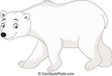 polaire, isolé, ours, fond, blanc, dessin animé