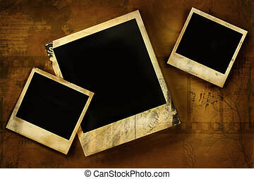 polaroid, vieux, grunge, contre, fond