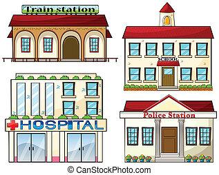 police, école, train, hôpital, station, station