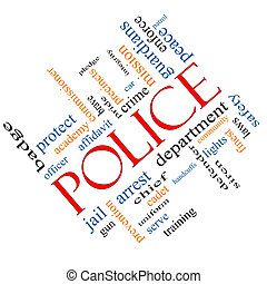 police, concept, mot, nuage, incliné