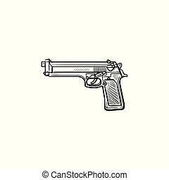 police, contour, griffonnage, fusil, main, dessiné, icon.
