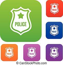 police, ensemble, écusson, collection