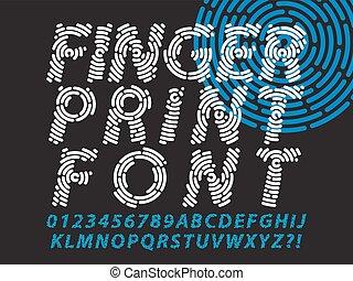 police, ensemble, empreinte doigt