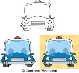 police, ensemble, voiture., retro, collection