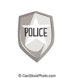 police, illustration, argent, vecteur, sécurité, écusson, dessin animé