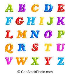 police, letters., isolé, collection., 3d, abc, creative., alphabet
