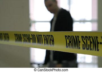police, ligne, bande, scène, crime