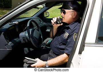 police, radioing, -