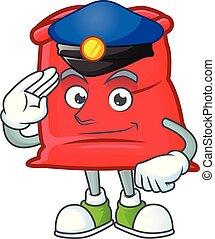 police, sac, santa, ouvert, rouges, dessin animé