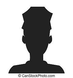 police, silhouette, icône officier