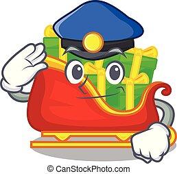 police, tas, présente, santa, traîneau, dessin animé