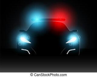 police, vecteur, voiture., illustration.
