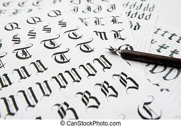 police, vieux, texture, gothique, calligraphie, style