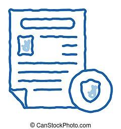 police, worksheet, griffonnage, icône, dessiné, illustration, rapport, main