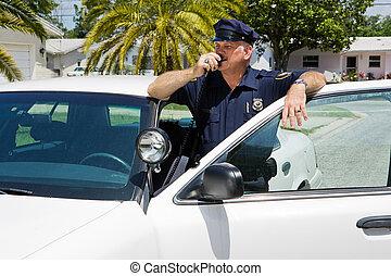policier, quartiers généraux, radioing