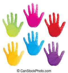 poligonal, coloré, art, caractères, main, vecteur