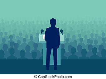 politicien, foule, gens, grand, vecteur, homme affaires, ou, parler
