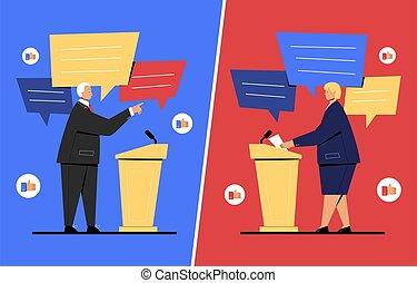 politiciens, illustration, vecteur, entre, débat, deux