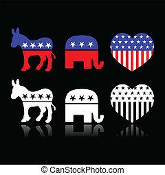 politique, faire la fête, symboles, usa