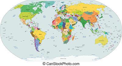 politique, global, carte, mondiale