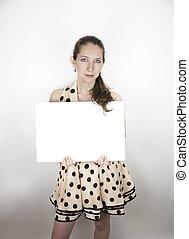 polka, femme, robe, point, signe