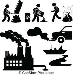 pollution, global, vert, chauffage, icône