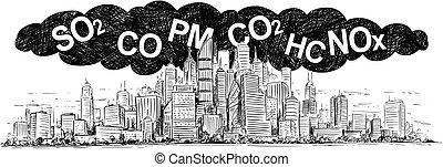 pollution, vecteur, air, dessin, fumée, artistique, ville, illustration, couvert