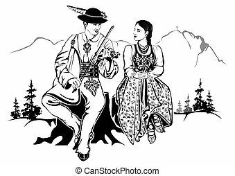 polonais, highlanders, couple
