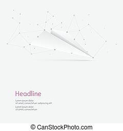 polygonal, avion, lignes, papier, dots.
