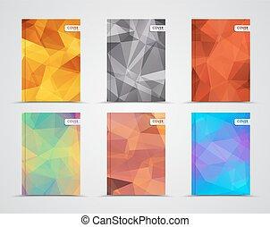 polygonal, ensemble, couvertures