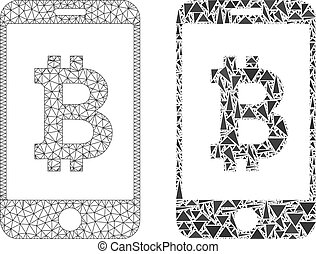 polygonal, mobile, bitcoin, 2d, maille, banque, mosaïque, icône