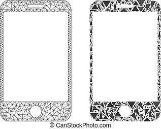 polygonal, smartphone, 2d, maille, mosaïque, icône