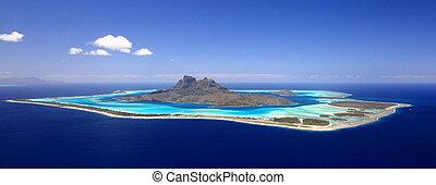 polynésie, day., au-dessus, vue, entiers, lune miel, lagune, sans nuages, destination, bora, premier, francais